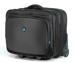 "A black 13""-17"" Alienware Vindicator Laptop Rolling Case w/ blue trim, many zippered compartments & 5-stage Telescoping handle"