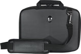 "A black 13""-14"" Alienware Vindicator slim laptop carrying case w/alien logo & black, padded shoulder strap."