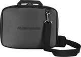 "A back view of a 13""-14"" black Alienware Vindicator slim laptop carrying case w/alien logo & black, padded shoulder strap."