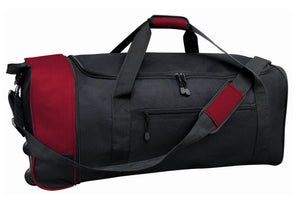 "A red 32"" Expandable Rolling Duffel w/ in-line blade wheels."