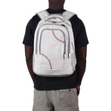 This is a man wearing a white baseball backpack with red baseball stitching and black trim.