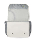 An open white baseball messenger bag w/ red baseball stitching made of real baseball material.