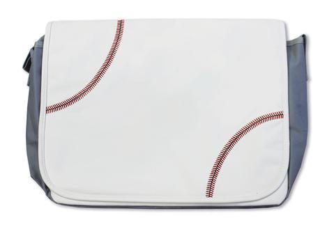 A white baseball messenger bag w/ red baseball stitching made of real baseball material.