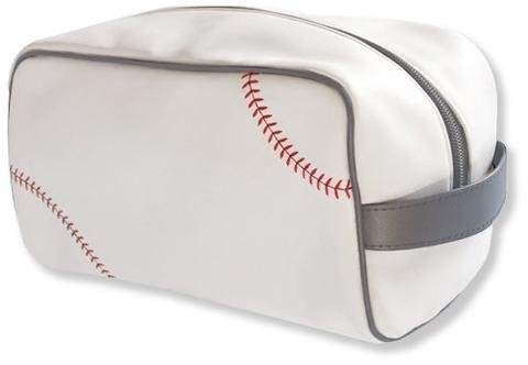 This is a white baseball dopp kit/ Toiletry bag w/ grey trim, red Baseball stitching made w/ real baseball material.