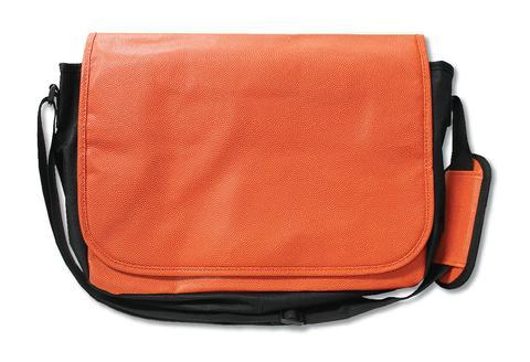A basketball messenger bag w/ padded shoulder strap made w/ real basketball material.