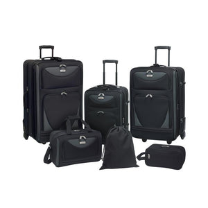 "A black 6-piece softside Sky View Expandable Luggage Value Set w/ push-button recessed locking handle system, fully-lined interior, In-line blade wheels & 2 front accessory pockets. Set includes three pieces of luggage that are 28"", 24"" and 20"",  a 16"" boarding tote, 11"" travel kit, and 16"" drawstring shoe bag."