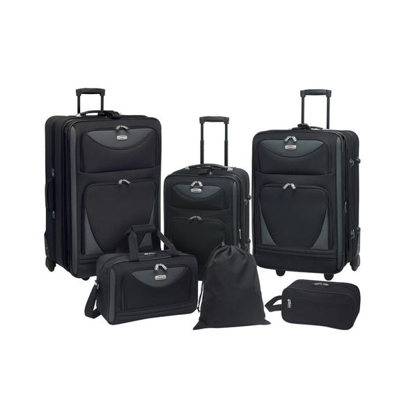 A black 6-piece softside Sky View Expandable Luggage Value Set w/ push-button recessed locking handle system, fully-lined interior, In-line blade wheels & 2 front accessory pockets. Set includes three pieces of luggage that are 28