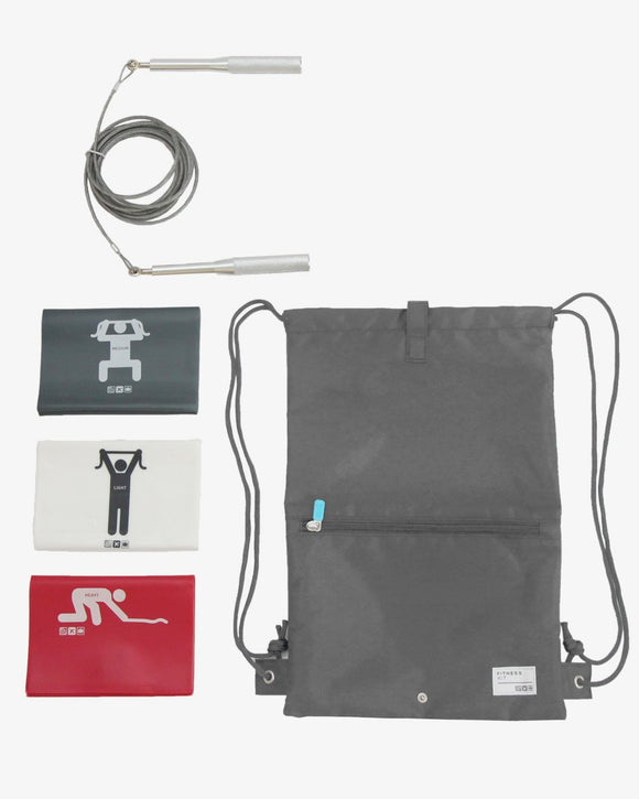 A travel fitness kit with grey carrying case, 9
