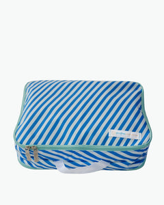 A blue striped Flight 001 travel Spacepak undergarment space saving packing cube.