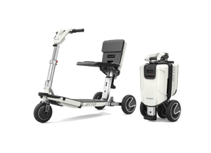 Portable ATTO mobility scooter splits in two for easy travel & transport
