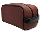 A brown football dopp kit/ Toiletry bag w/ black trim made of real Football leather.