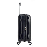 "side view of black 20"" Chicago Hardside Expandable Spinner Carry-On luggage w/ double spinner wheels, top corner guards & telescopic push-button trolley handle, fully-lined interior w/ elastic tie straps & zippered garment divider."