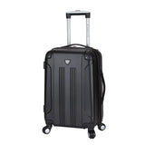 "A black 20"" Chicago Hardside Expandable Spinner Carry-On luggage w/ double spinner wheels, top corner guards & telescopic push-button trolley handle, fully-lined interior w/ elastic tie straps & zippered garment divider."