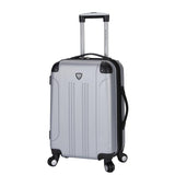 "A silver 20"" Chicago Hardside Expandable Spinner Carry-On luggage w/ double spinner wheels, top corner guards & telescopic push-button trolley handle, fully-lined interior w/ elastic tie straps & zippered garment divider."