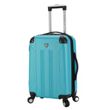 "A teal 20"" Chicago Hardside Expandable Spinner Carry-On luggage w/ double spinner wheels, top corner guards & telescopic push-button trolley handle, fully-lined interior w/ elastic tie straps & zippered garment divider."
