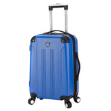 "A blue 20"" Chicago Hardside Expandable Spinner Carry-On luggage w/ double spinner wheels, top corner guards & telescopic push-button trolley handle, fully-lined interior w/ elastic tie straps & zippered garment divider."