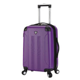 "A purple 20"" Chicago Hardside Expandable Spinner Carry-On luggage w/ double spinner wheels, top corner guards & telescopic push-button trolley handle, fully-lined interior w/ elastic tie straps & zippered garment divider."