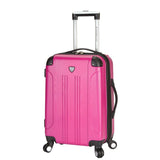 "A fuchsia 20"" Chicago Hardside Expandable Spinner Carry-On luggage w/ double spinner wheels, top corner guards & telescopic push-button trolley handle, fully-lined interior w/ elastic tie straps & zippered garment divider."