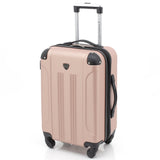 "A rose gold 20"" Chicago Hardside Expandable Spinner Carry-On luggage w/ double spinner wheels, top corner guards & telescopic push-button trolley handle, fully-lined interior w/ elastic tie straps & zippered garment divider."