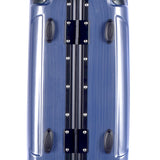"Hinge view of blue 20"" Luna Aluminum Frame Rolling Carry-On w/ telescopic handle, Fully-lined interior, zippered accessory pockets, Multi-directional 8-wheel spinners, Double mounted TSA locks."