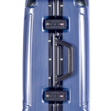 "Side view of blue 20"" Luna Aluminum Frame Rolling Carry-On w/ telescopic handle, Fully-lined interior, zippered accessory pockets, Multi-directional 8-wheel spinners, Double mounted TSA locks."