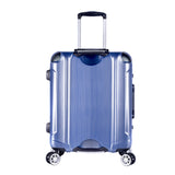 "A blue 20"" Luna Aluminum Frame Rolling Carry-On w/ telescopic handle, Fully-lined interior, zippered accessory pockets, Multi-directional 8-wheel spinners, Double mounted TSA locks."