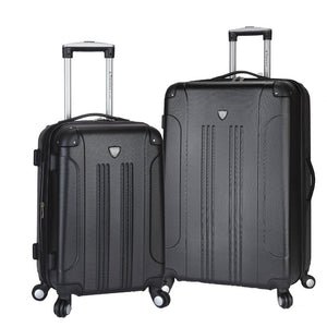 A black 2 pc Chicago Expandable Spinner Luggage Set w/  (8) double-spinner wheel system, accessory pockets, corner bumper guards & Telescopic push-button trolley handle.