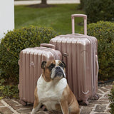 A 3-pc expandable metallic rose gold kensie Metallic Spinner Luggage Set w/ push-button gun metal trolley handle, top & side handles, fully-lined interior w/ zippered accessory pockets, detachable PVC bag, recessed TSA lock system w/ English Bull dog sitting next to it.