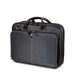 "16"" Graphite Nylon Briefcase w/ padded computer pocket, file section & workstation w/ pockets"