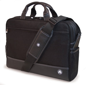 "A black 16"" Sumo Pro Laptop Briefcase w/ white stitching & removable shoulder strap, center mounted, computer compartment that will hold up to a 17"" MacBook Pro or 16"" PC laptops & multiple pockets for accessories & files."