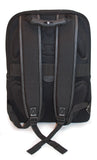 "A back view of professional black 17"" Sumo Traveler Laptop Backpack w/ white stitching, ballistic nylon w/ faux leather bottom & accents, Padded corduroy computer compartment fits up to 17"" laptops, multiple pockets for accessories & files."