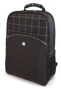 "A professional black 17"" Sumo Traveler Laptop Backpack w/ white stitching, ballistic nylon w/ faux leather bottom & accents, Padded corduroy computer compartment fits up to 17"" laptops, multiple pockets for accessories & files."