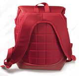 "A back view red women's Laptop/Tablet 14.1""-15"" Sumo Combo Backpack. Red separate, padded & fleece lined pockets for both a laptop and a tablet. Front & side pockets draw-string opening w/ secure flap."