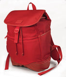 "A red women's 14.1""-15"" Sumo Combo Backpack. Red separate, padded & fleece lined pockets for both a laptop and a tablet. Front & side pockets draw-string opening w/ secure flap."