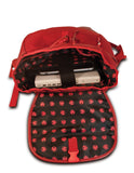 "An open red women's 14.1""-15"" Sumo Combo Backpack. Red separate, padded & fleece lined pockets for both a laptop and a tablet. Front & side pockets draw-string opening w/ secure flap."