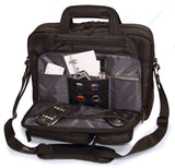 "An open black 16"" Corporate Laptop Briefcase w/ multiple padded compartments for laptops & travel gear."