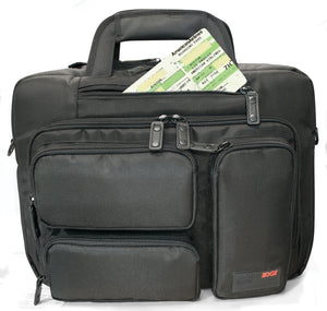 "A black 16"" Corporate Laptop Briefcase w/ multiple padded compartments for laptops & travel gear."