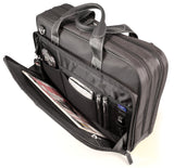 "An open black 16"" Premium Ballistic Nylon Laptop Briefcase, padded laptop compartment, multiple zippered compartments, handles & shoulder strap."