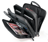 "An opened black 16"" Premium Ballistic Nylon Laptop Briefcase, padded laptop compartment, multiple zippered compartments, handles & shoulder strap."