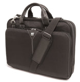 "A black 16"" Select Nylon Laptop Briefcase w/ Ballistic Nylon exterior, Padded computer compartment, Workstation, Interior file section for folders, binders, magazines, Trolley strap for use with rolling luggage, Leather wrapped handles & matching removable shoulder strap"
