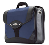 "A leather & ballistic nylon black & navy 15.6"" Premium Laptop Briefcase. Built-in elastic shoulder strap system, padded laptop pocket & multiple zippered compartments."