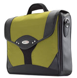 "A yellow leather & ballistic nylon 15.6"" Select laptop Briefcase. Built-in elastic shoulder strap system, padded laptop pocket & multiple zippered compartments."