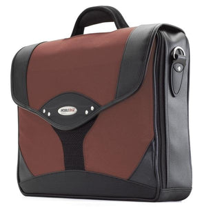 "A Dr. Pepper colored leather & ballistic nylon 15.6"" Select laptop Briefcase. Built-in elastic shoulder strap system, padded laptop pocket & multiple zippered compartments."