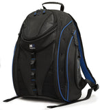 "A black & blue 16"" Express Laptop Backpack 2.0 w/ mesh pockets & silver trim. Padded pockets inside for laptop or tablet, multiple pockets inside."