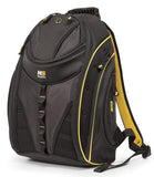 "A black & yellow 16"" Express Laptop Backpack 2.0 w/ mesh pockets & silver trim. Padded laptop or tablet pockets & multiple pockets inside."