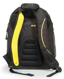 "A back view of a black & yellow 16"" Express Laptop Backpack 2.0 w/ mesh pockets & silver trim. Padded laptop or tablet pockets & multiple pockets inside."