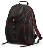 "A black & red 16"" Express Laptop Backpack 2.0 w/ mesh pockets & silver trim. Padded laptop or tablet pockets & multiple pockets inside."