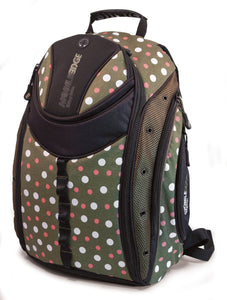 "An Eco-Friendly women's 16"" Eco-Friendly Express Backpack w/ white & pink dots on a green background, ergonomic straps & ventilated back panel & a protective computer compartment."