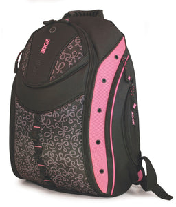 "A pink and black 16"" Pink Ribbon Express Backpack w/ ergonomic strap, ventilated back panel & Protective Computer Compartment."