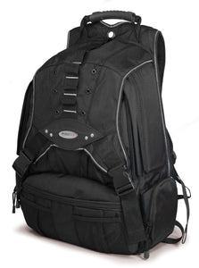 "A 1680 Denier Ballistic Nylon black 17.3"" Premium Laptop Backpack w/ silver trim, Cool-Mesh ventilated back panel & Safety Cell Computer Compartment."